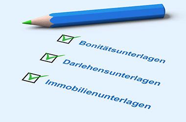 Stift, Bonitätsunterlagen, Darlehensunterlagen, Immobilienunterlagen, Häkchen