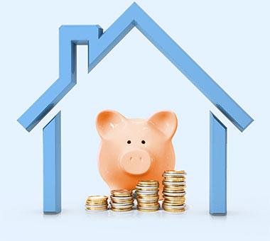 Haus, Sparschwein, Münzen