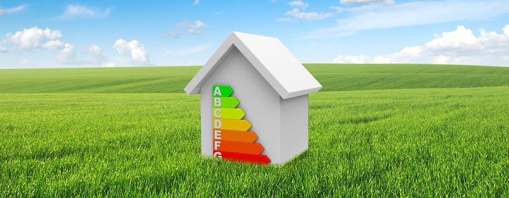Haus, Wiese, Energie Effizienzskala
