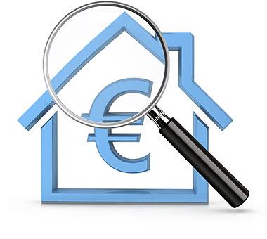 Haus, Lupe, Eurozeichen