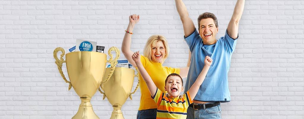 Familie, Mutter, Vater, Kind, Pokale