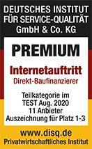 Auszeichnung des Deutschen Instituts für Service-Qualität als Premium Internetauftritt im Test vom August 2020 für DTW | Immobilienfinanzierung.