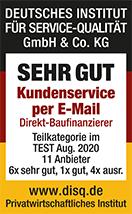 Auszeichnung des Deutschen Instituts für Service-Qualität: