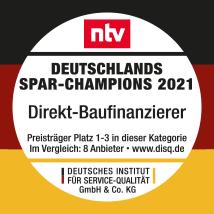 Auszeichnung des Deutschen Instituts für Service-Qualität: Deutschlands Spar-Champions 2021 für Direkt-Baufinanzierer.