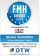 FMH-Award für DTW-Immobilienfinanzierung 2013