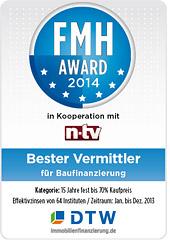 FMH-Award für DTW-Immobilienfinanzierung 2014