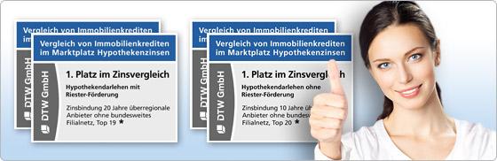 Viermal 1. Platz in Stiftung Warentest Finanztest für DTW-Immobilienfinanzierung