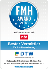 1. Platz für DTW: Bester Vermittler für Baufinanzierung 2018
